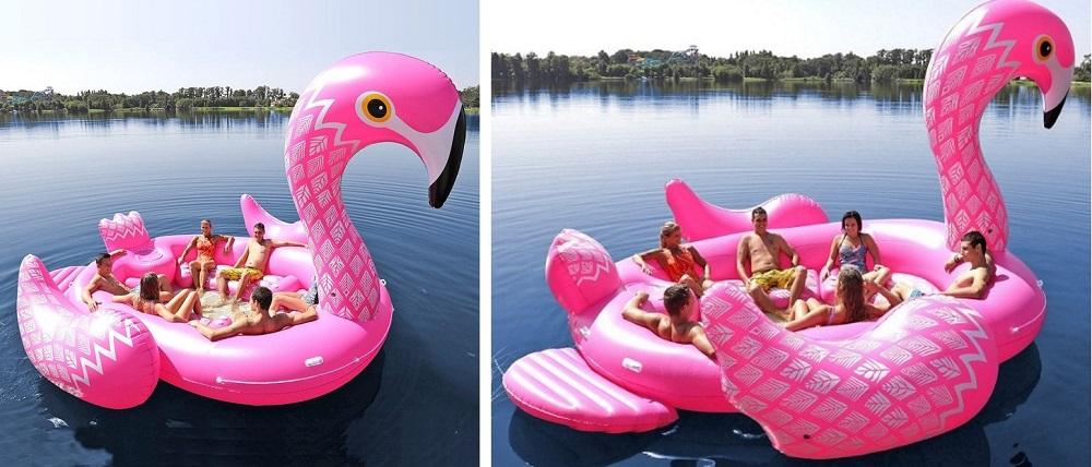 opblaas flamingo eiland boot 6 personen