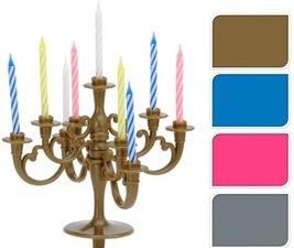 Kandelaar met verjaardagskaarsjes - taart kandelaar zilver