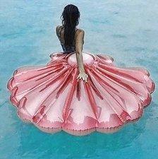 Opblaasbare schelp luchtbed roze 154x137cm
