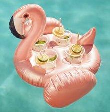 Opblaas flamingo bekerhouder voor 4 drankjes (nude pink)