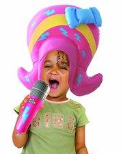 Opblaasbare Pruik en Microfoon Popster