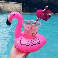 Opblaasbare bekerhouder flamingo