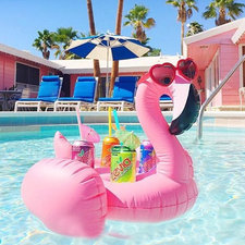 Opblaas flamingo bekerhouder voor 4 drankjes nude-roze