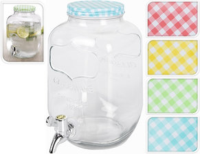 Glazen waterkan met tapje (3,9DL) geel