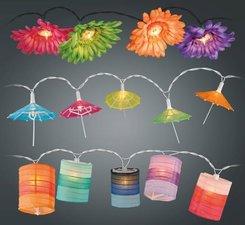 Feestverlichting binnen parasols