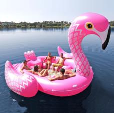 Opblaas eiland Flamingo boot 400x380x250cm