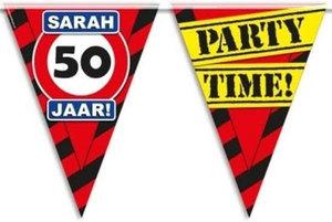 Vlaggenlijn party zone Sarah 50 jaar