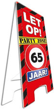Party zone bord 65 jaar