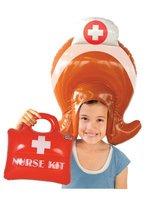 Opblaasbare Pruik en koffertje Verpleegster