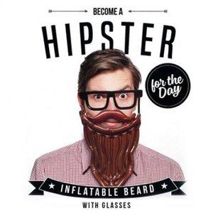 Opblaasbare hipster baard met bril