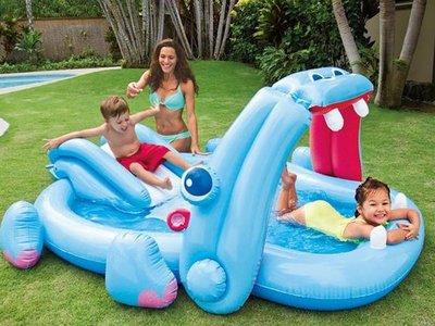 Kinderzwembad met glijbaan (nijlpaard)