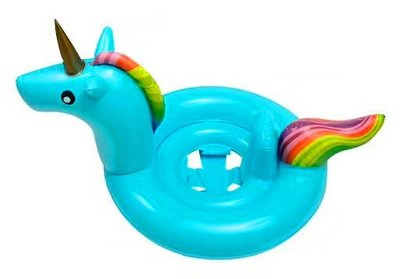 opblaas unicorn baby blauw